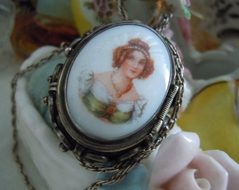 REDUCED Vintage Transfer Cameo Locket Pendant Pin STERLING Silver 925 JA No Chain Free Shipping