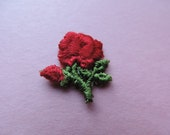 red rose patch, 1970's embroidered flower appliqué, new old stock