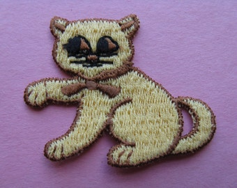 vintage cat appliqué gold kitten patch 70s kitty jacket patch new old stock