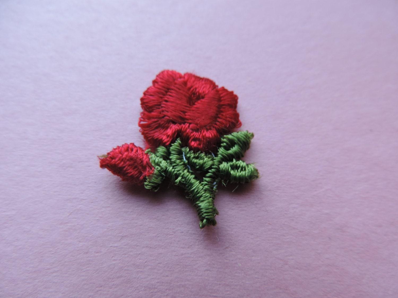 Red rose patch s embroidered flower appliqué vintage jacket
