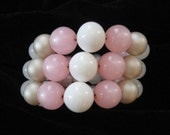 Pink, White, Cream Memory Wire Bracelet, Pink Moonglow Lucite