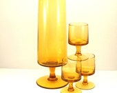 Amber Glass Martini Set Vintage 1960s Barware Modern Pitcher and Glasses Mid Century Bar Ware