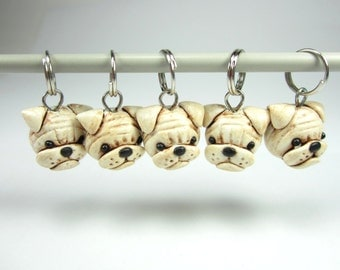 Bulldog Knitting Stitch Markers Set of 5