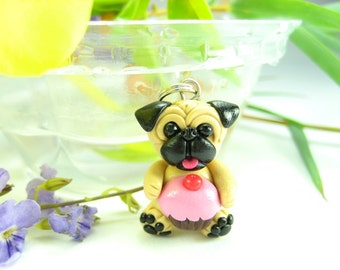 Cupcake Pug Necklace pendant - fawn dog jewelry ,miniature animal dog, pug jewelry, pug necklace, pug life, pug gift, dog lovers gift, clay