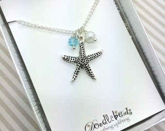 starfish Necklace star fish charm necklace  - silver  starfish jewelry - choose carded with quote or in a silver gift box.