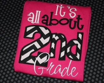 All about 2nd grade- school teacher shirt- second grade- can change number