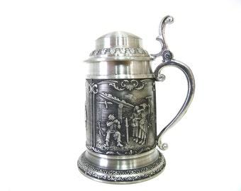Vintage Mug SKS ZINN 95% Pewter Made in Germany Stein Hunter motif Mini Beer Stein