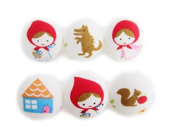 Red Riding Hood - Fabric Covered Buttons - 6 Medium Buttons