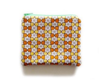 Zipper Pouch - Asanoha in Orange - Available in Small / Large / Long
