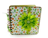 RESERVED FOR MELINDA - Field of Flowers Lined Journal, 6x6 - green, orange, yellow