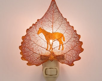 Real Cottonwood Leaf Dipped In Iridescent Copper With Western Horse Silouhette Night Light  - Iridescent Copper Leaves