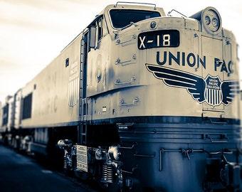 Photograph of Vintage Train / Union Pacific / blue train wall art / indigo, grey, creme / boys room wall art / playroom decor / art print