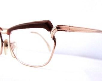 Womens 1950s Eyeglasses // 50s Vintage Browline Frames // RP Gold // USA // Flair brand