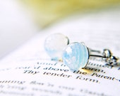 White Opal Swarovski Crystal Disco Ball a Earrings Silver Opalescent October Birthstone