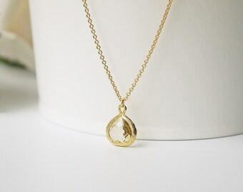 Small Yellow Citrine Glass Necklace Matte Gold Jonquil Modern Dainty Pendant