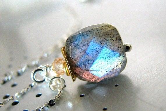 Labradorite Necklace, Blue Gray Labradorite Necklace, Sterling Silver, Gold, Blue Flash Gemstone - Anastasia