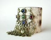 SALE - clearance - brindle hair on hide cuff with kuchi piece