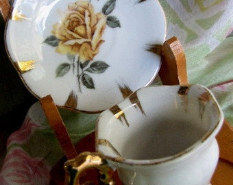 Vintage  Miniature Tea Cup and Saucer  / Gold Trim Yellow Roses Vintage set