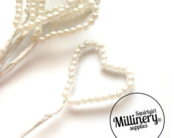 6 Stems Wired Ivory Pearl Hearts For Millinery & Wedding Floral Bouquets