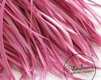 Goose Biot Feather Fringe, 5 Inch Piece (30 or More Feathers) for Millinery and Craft - Raspberry Sorbet