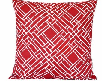 Red Lattice Pillow Cover Cushion Geometric Modern Nautical Americana Decorative Repurposed 16x16