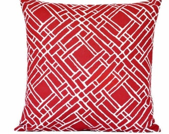 SALE 10.00 Red Lattice Pillow Cover Cushion Trellis Geometric Modern Nautical Americana Decorative Repurposed 16x16