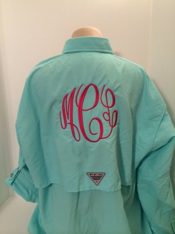 Monogrammed columbia pfg shirt long sleeve by tjembroidery for Custom columbia pfg shirts