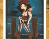 PIRATE fairy art print-  fantasy lowbrow print -Jane