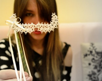 Party Lace Mustache on a Stick - Filigree Lace Tatted-  FAKE  MOUSTACHES - white arabesque
