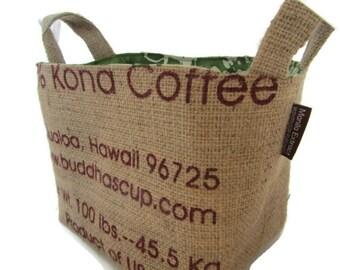 MTO. Burlap Gift or Storage Basket. Repurposed Buddha's Cup Coffee Bag - Large.