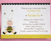 Bumble Bee Baby Shower Invitations, Honey Bee Invitations,  PRINTED Invitations