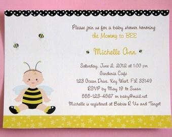 Bumble Bee Baby Shower Invitations, Honey Bee Invitations,  PRINTED Invitations