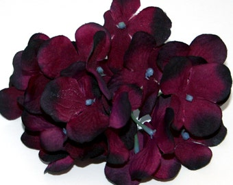 1 Plum Purple Hydrangea Bunch - Small Head - Artificial Flowers, Blossoms, Silk Flowers - PRE-ORDER