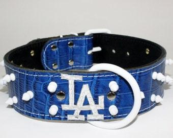 "Blue La Dog Collar - Leather La Dodgers Collar - Blue Leather La Collar - 2"" La Leather Dog Collar - Spiked La Dog Collar - Made In Ca"