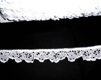 "White Ruffled Polyester Eylet Lace 1.5"" wide - (5 yards @ 60 cents a yard)"