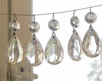 "10 vintage glass tear drop pendants chandelier crystals LAMP PARTS 1.5"""