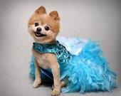 Dog Dress, Wedding, Turquoise Bling Satin Feather Harness, Aqua Blue