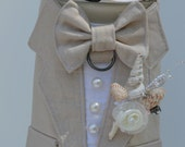 Dog Tuxedo Tan Linen Boy Dog Harness, Beach Wedding
