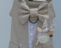 Dog Tuxedo Tan Linen Boy Dog Harness, Beach Wedding