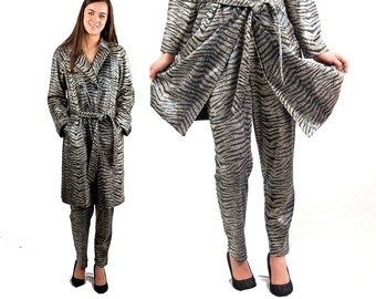Snakeskin coat, faux snakeskin, animal print, black white, trench coat and pants, Size 12, Size M/L, 1990s