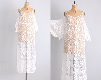 morning after • 1970s lace dress • lace nightgown • coverup