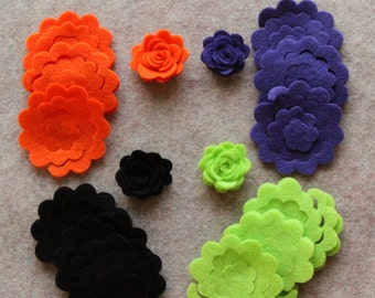 Wicked - 3D Rolled Roses - 24 Die Cut Felt Flowers - Unassembled Rosettes