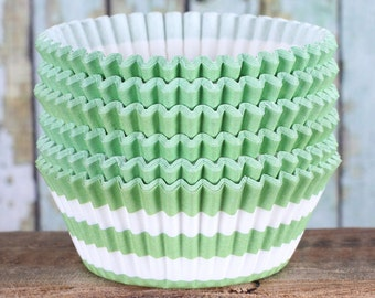 Lime Green Stripe Cupcake Liners, Lime Cupcake Wrappers, Lime Cupcake Cases, Stay Bright Greaseproof Cupcake Liners, Lime Baking Cups (50)