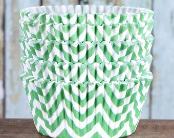 Lime Green Chevron Cupcake Liners, Lime Green Cupcake Wrappers, Cupcake Cases, Stay Bright Greaseproof Cupcake Liners, Baking Cups (50)
