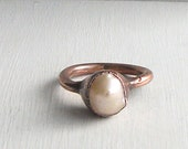 Pearl Ring June Birthstone Ring Iridescent Cream Ring Raw Gem Gemstone Ring Artisan Handmade Size 6.5