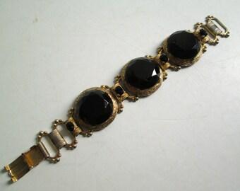 Vintage large stone BRACELET. Black rhnestonesi.  Victorian Revival.  Goldtone Metal.  Stunning.
