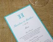 Hawaiian Blue Monogram Wedding Menus, Modern Wedding Menus