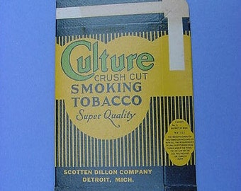 Art Deco Culture Crush Cut Smoking Tobacco Box Scotten Dillon Detroit Michigan Advertising 1930s to 40s