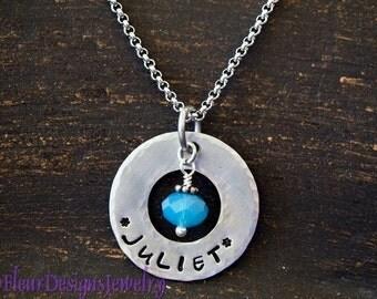 Personalized Washer Necklace, Name Necklace, Customized Washer Necklace