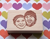 Portrait stamp/ Face stamp/ Couple portrait stamp/ Wedding invitation stamp/ Christmas card/ Any texts on rubber stamp for FREE